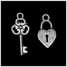 Pack of 40 Locks and 40 Keys Charms Pendants Silver Craft Supplies for J... - $9.08