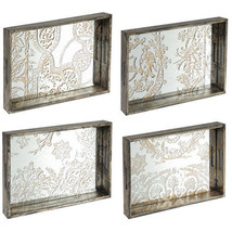 "Etched Glass Mirror Serving Tray 21""x14"" Set Of 4 - 33797 - £124.08 GBP"