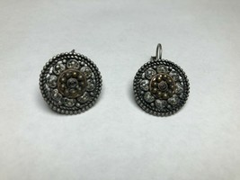 Vintage Costume Jewelry Earrings Silver Tone Round - $11.54