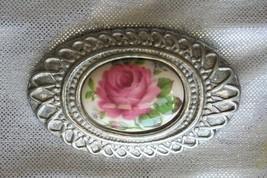 Vintage Etain Pewter Victorian Style Porcelain Rose Brooch - $14.20