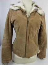 Womens St Johns Bay Suede Brown Leather Coat Jacket W/ Rabbit Fur Trim S... - €30,03 EUR