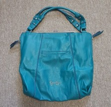 Jessica Simpson Purse Tote Shopper Handbag Teal Blue Framed Hinge Clasp Close  - $32.65
