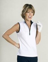 Stylish Women's Golf & Casual White Short Sleeve Mock Polo, Rhinestone Zipper  image 2