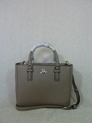 NWT Tory Burch French Gray Saffiano Leather Robinson Mini Square Tote image 3