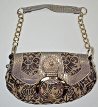 Guess Handbag Bling Gold G Chian Strap Damask Pattern Satchel Bag Purse - $27.83