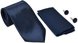 Kingsquare Solid Color Men's Tie, Pocket Square, and Cufflinks matching set DARK image 5