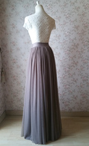 Women Full Tulle Skirt High Waist Bridesmaid Wedding Tulle Skirt,taupe(US0-US28) image 5