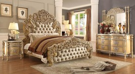 Homey Design HD-5801 Luxury Ivory Antique Gold Tufted Headboard Bedroom Set 3Pcs
