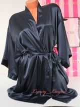 VS VICTORIA'S SECRET Satin Silky Kimono Robe Ties w Belt, 2 Pocket Blue NWT - $31.24