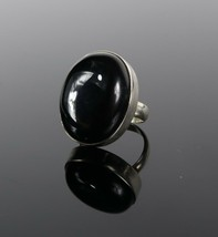 Vintage .925 Sterling Silver Chunky Oval Black Onyx Thin Band Size 3 Rin... - $26.99