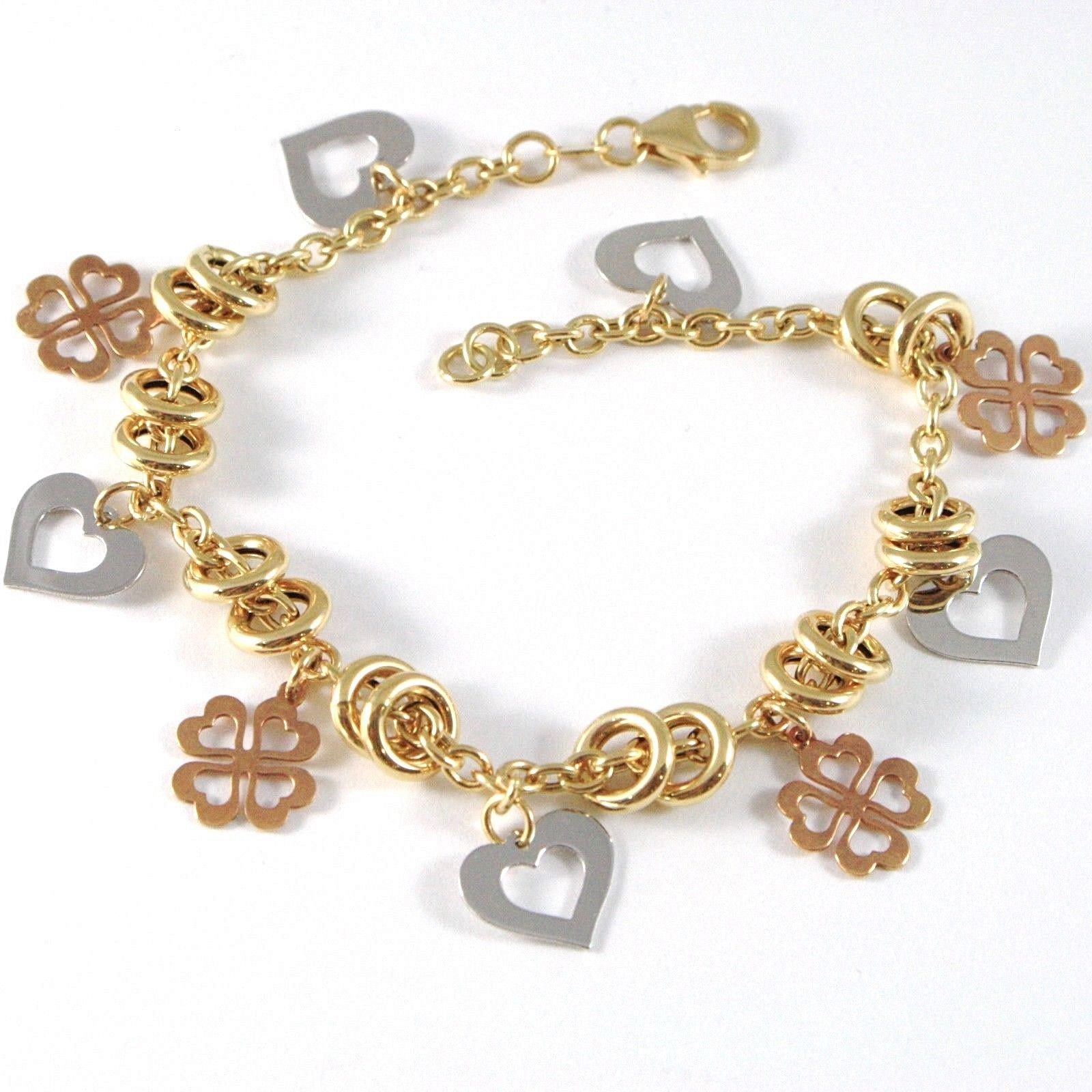 Gold Bracelet Yellow White Pink 18K 750, Circles, Four-Leaf Clover & Hearts, Cmd