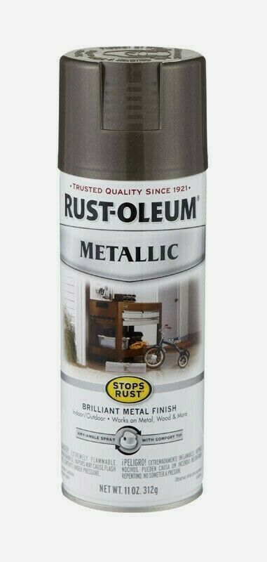 Primary image for Rust-Oleum DARK BRONZE Stops Rust METALLIC Finish 11 oz Spray Shiny 7272-830 NEW