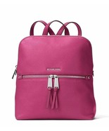 Michael Kors Rhea Medium Slim Leather Backpack - Deep Fuschia - $293.09