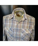 Vtg Levi's 1980's 1970's Plaid Long Sleeve Chambray Shirt Gray Red Size ... - $39.99