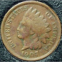1907 Indian Head Cent VG PARTIAL LIBERTY  #0261 - $2.39