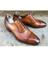 Handmade Men's Tan Oxford Brogue Lace Up Toe Cap Formal Dress Wedding Shoes - $214.99