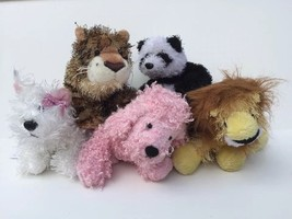 Webkinz Lot 5 Plush White Terrier Panda Lion Pink Poodle Leopard Toys No... - $14.85