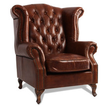 MarquessLife 100%Genunie Leather Handmade Tufted High Back Armchair Antique Sofa