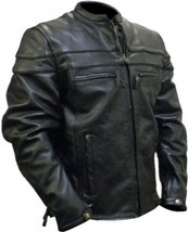Mens BIKER Black PREMIUM Naked Leather SCOOTER Motorcycle RACER Jacket w... - $159.99+