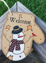Primitive Wood WL020 Welcome Snowman Mitten Christmas Ornament  - $3.95