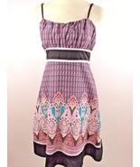 Anthropologie Pura Vida Sz 6 Multi Color Geometric Floral Print Dress - $9.89