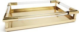 Tray Jourdain Deco Polished Brass Lucite Metal New GH-795 - $519.00