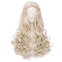 Blond Hair 65 cm Cosplay Full Wig Long Curly Hair Wig Synthetic Hair Wig Princes