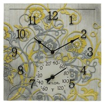 Taylor Precision Products 92692T 14-Inch x 14-Inch Beachwood Clock with ... - $68.69