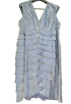 Adrianna Papell Woman dress 22W NWT gray/blue tiered ruffled flattering ... - $89.09