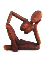 OMA Thinker Statue Thinking of You Meditation Wood Statue Abstract Art -... - $84.15