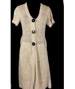Laurie B Beige Knit Cardigan Duster Medium Pockets 3 Snap Closure Short ... - $51.97