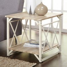 Natural White End Table Steel Wood Rectangle Rustic Living Room Furnitur... - $76.43