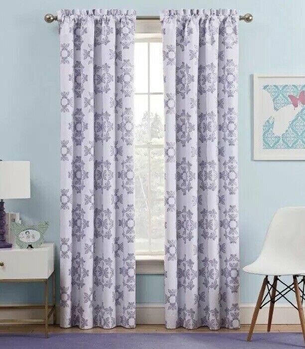 2 Waverly Kids Ipanema Light Blocking Window Panels Lavender Butterfly 42x63 - $22.49
