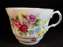 Royal Dover Tea Cup BONE CHINA English coffee cup rose & floral design p... - $9.49