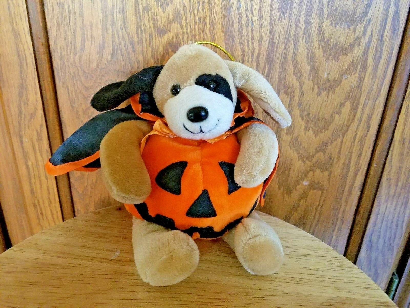 Halloween Fiesta Stuffed Dog Pumpkin Animal With Cape - $7.66