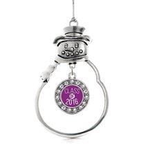 Inspired Silver Purple Class of 2016 Circle Snowman Holiday Christmas Tr... - $14.69