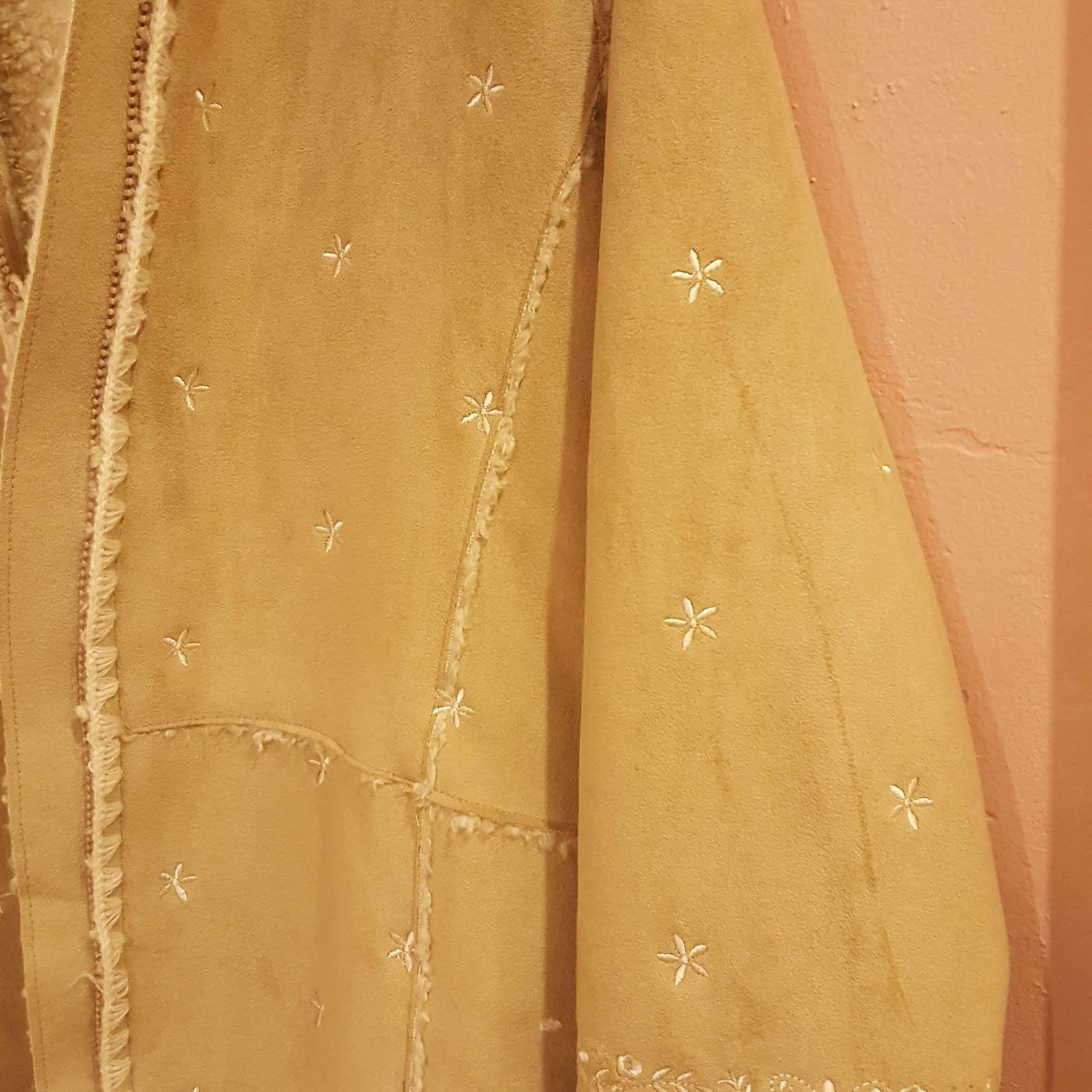 GAP GIRLS FAUX SUEDE BEIGE COAT XXL 14-16 with embroidery image 9