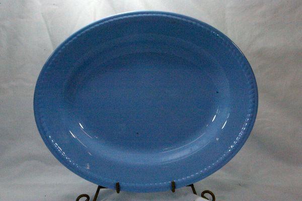 "Homer Laughlin  Craft Blue Oval Platter 13 3/4"""