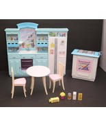 Barbie Living in Style Kitchen Fridge Sink Island Oven Table Chair Acces... - $59.35
