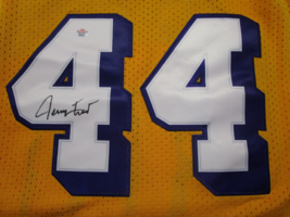 JERRY WEST / NBA HALL OF FAME / AUTOGRAPHED L.A. LAKERS THROWBACK JERSEY / COA image 3