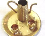 Vintage Miniature Brass Plated Punch Tea Set Tray Tea Pot 2 Cups
