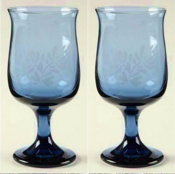 Primary image for 2 Pfaltzgraff YORKTOWNE Stemmed Blue Etched Wine Glasses