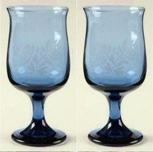 2 Pfaltzgraff YORKTOWNE Stemmed Blue Etched Wine Glasses - $9.99