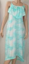 Miken Size Medium Mint Green High Low Flounce Tie Dye Maxi Coverup Dress... - $7.87