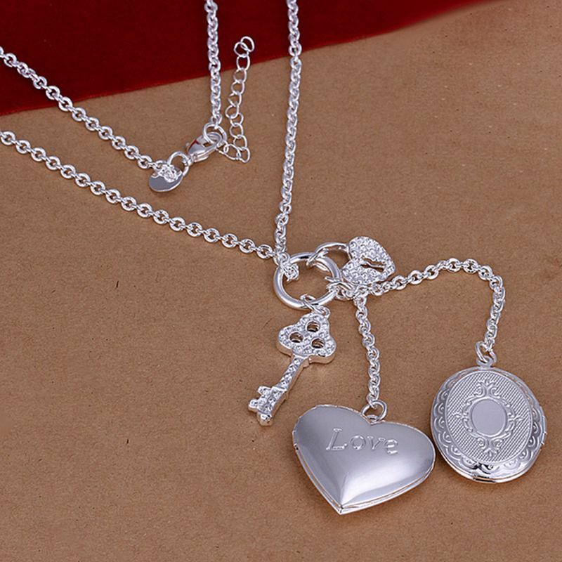 Primary image for Heart and Oval Photo Lockets Pendant Necklace 925 Sterling Silver NEW