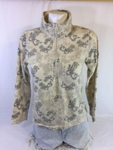 Laura Scott Petite Women Jacket Cream Color With Leaf Print Size M Bin37#16 - $8.59