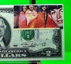 MONEY US $2 DOLLARS 1976 FEDERAL RESERVE NOTE STARS OF MUSIC BEATLES GEM UNC image 3