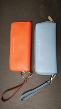 MICHAEL KORS SAFFIANO LEATHER LG FLAT MF PHONE CASE WALLET IN blue orange - $49.99