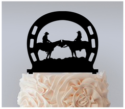 Wedding,Birthday Cake topper,Cupcake topper,Cowboy Bride and Groom Horses 11 pcs - $20.00