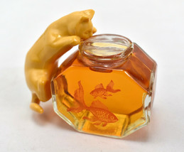 Vtg 1970s Avon Curious Kitty Sweet Honesty 2.5 Fl. Oz Full Fish Bowl - $27.67